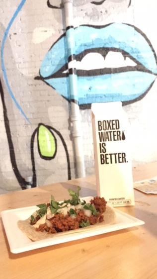 Yummy vegan chorizo tacos, washed down w/ Boxed Water